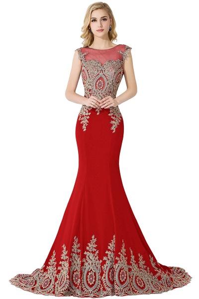 Mermaid Appliques Chiffon Court Train Evening Dress_2