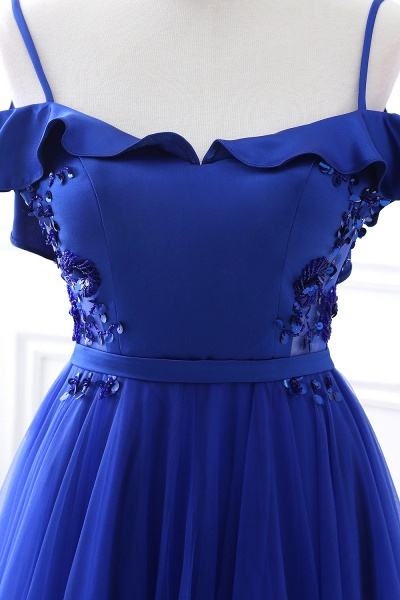 CHANEL   Ball Gown Off-the-shoulder Floor-length Blue Tulle Prom Dress_9