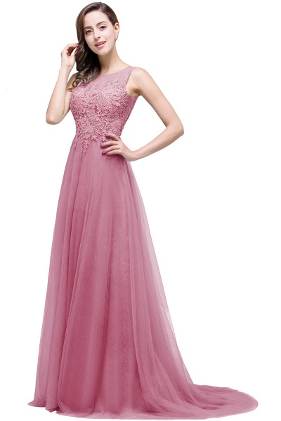 A-line Tulle Appliques Court Train Evening Dress_3