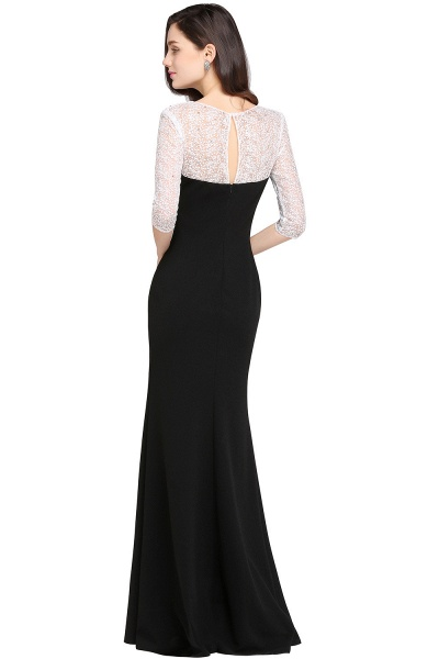 ARIEL | Mermaid Floor Length Black Cheap Evening Dresses with Lace_2