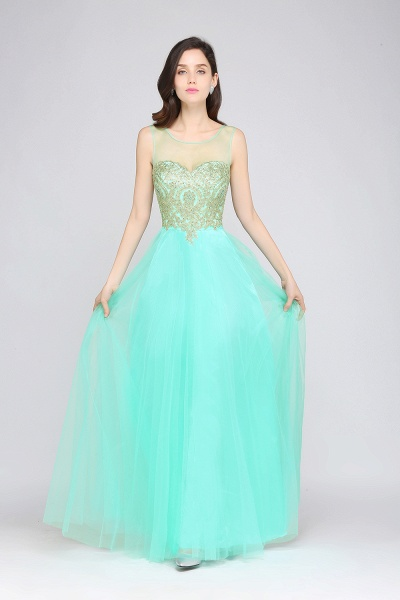 ARIA | A-line Scoop Tulle Gorgeous Evening Dresses with Appliques_10