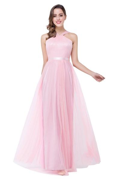 ELLIOTT   Sheath Floor-length Pink Tulle Bridesmaid Dresses with Ribbon Sash_8