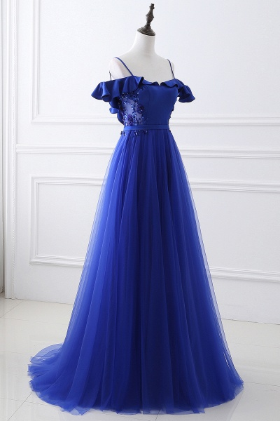 CHANEL   Ball Gown Off-the-shoulder Floor-length Blue Tulle Prom Dress_4