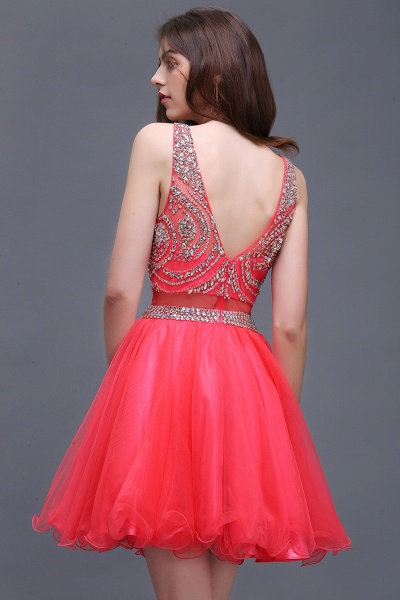 BIANCA | Puffy Straps Short Tulle Homecoming Dresses With Crystal_7