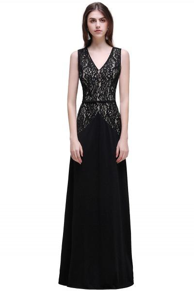 BRYANNA   A-line V-Neck Long Lace Black Prom Dresses with Sash_1