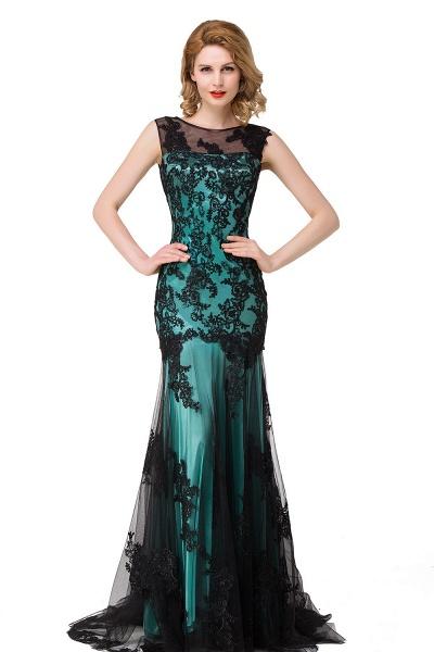 DANIELA | Scoop Neck Mermaid Black lace Applique Evening Prom dresses_6