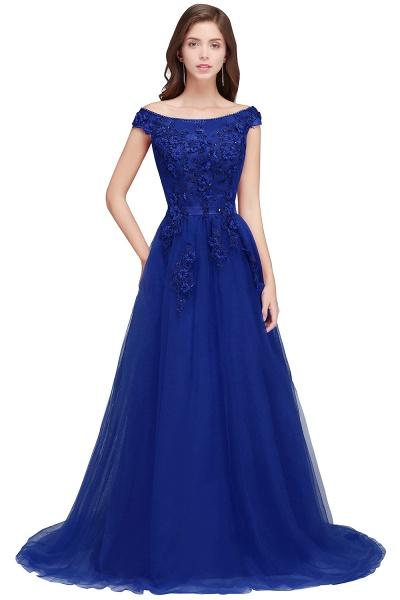 Sleek Off-the-shoulder Tulle A-line Evening Dress_2