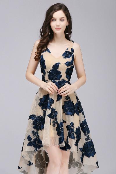 Short Appliques Tulle V Neck Prom Dresses_2