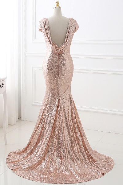 COURTNEY | Fit and Flare Sweep train Sequined Rosy Golden Prom Dress_3