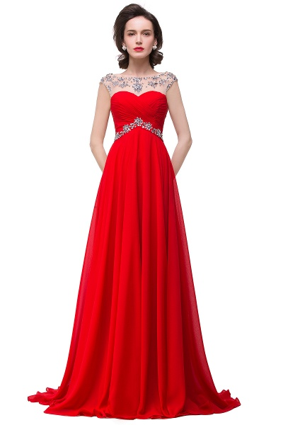 A-line Sweetheart Crystal Chiffon Evening Dress_2