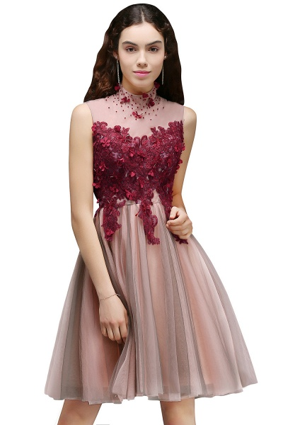 Exquisite High Neck Satin A-line Homecoming Dress_1