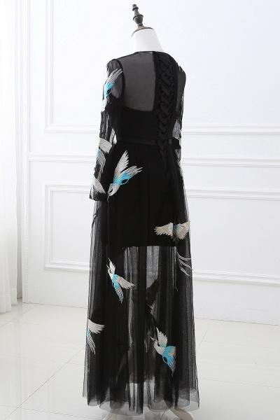 CHARLI | Sheath Round neck Embroidery Long Sleeves Black Prom Dress_4