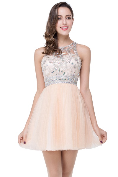 ELISA | A-line Crew Sleeveless Tulle Short Prom Dresses with Beadings_7
