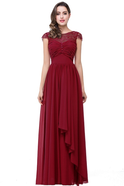 ELLEN   A-line Short Sleeves Chiffon Bridesmaid Dresses with Ribbon Bow_1