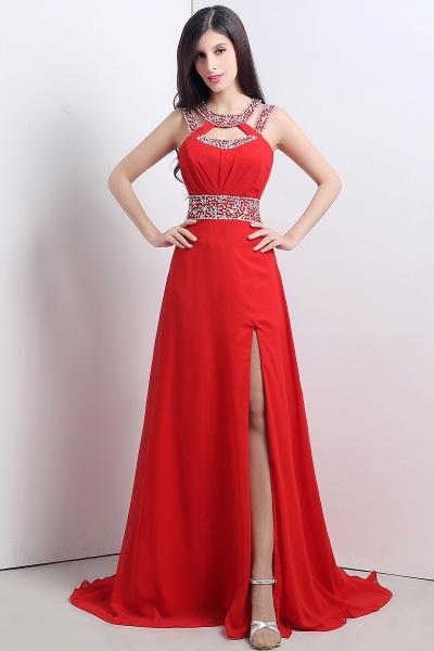 Excellent Halter Chiffon A-line Evening Dress_3