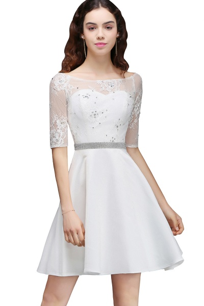 ALICIA | A Line Jewel White Short Sleeve Satin Homecoming Dresses With Lace_6