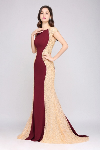 ANYA | Mermaid Scoop Burgundy Pretty Evening Dresses_4