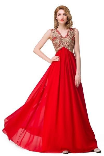 ESME | A-Line Floor-Length Sleeveless V-Neck Lace Appliques Prom Dresses_9