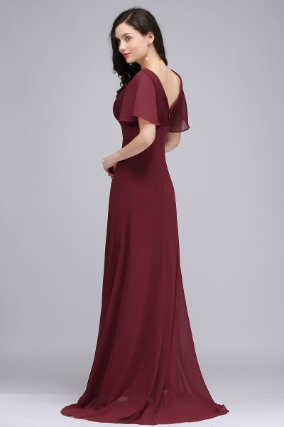 A-line V-neck Floor Length Chiffon Bridesmaid Dress_9