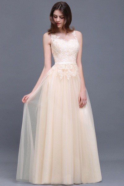 A-line Floor-Length Tulle Bridesmaid Dress With Lace_4