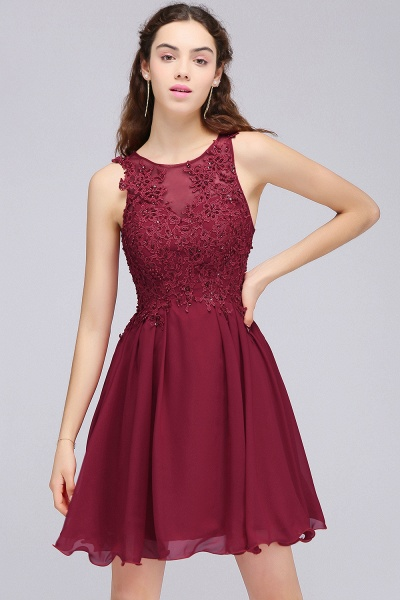 CARLEE | A-line Jewel Short Chiffon Burgundy Homecoming Dresses with Lace Appliques_12