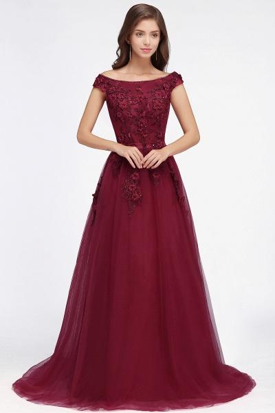 Sleek Off-the-shoulder Tulle A-line Evening Dress_8