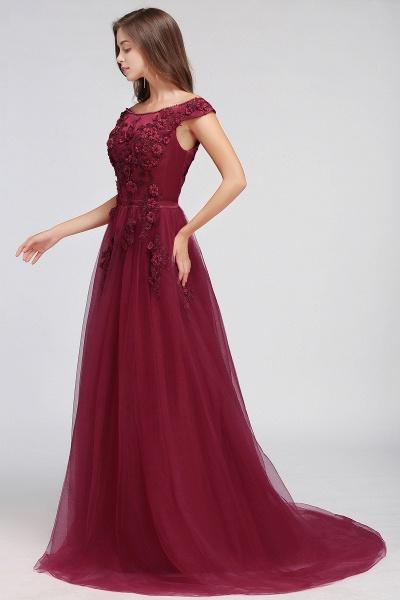 Sleek Off-the-shoulder Tulle A-line Evening Dress_11