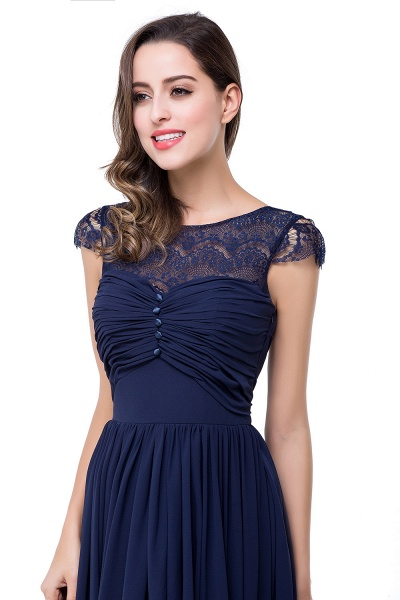 ELLEN   A-line Short Sleeves Chiffon Bridesmaid Dresses with Ribbon Bow_11