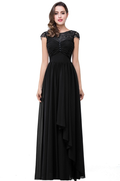 ELLEN   A-line Short Sleeves Chiffon Bridesmaid Dresses with Ribbon Bow_2