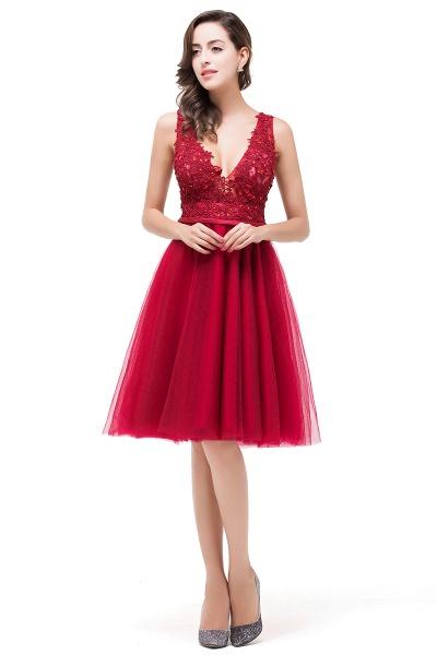 EVIE   A-Line Deep-V Neck Sleeveless Short Prom Dresses with Appliques_4
