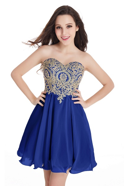 A-Line Strapless Short Chiffon Prom Dresses with Beadings_5