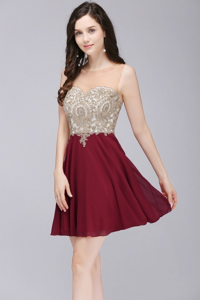ALIANNA | Sheath Jewel Chiffon Short Homecoming Party Dresses With Applique_7