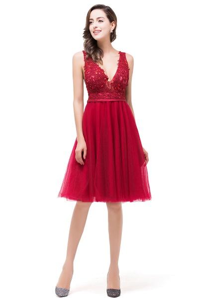 EVIE   A-Line Deep-V Neck Sleeveless Short Prom Dresses with Appliques_6