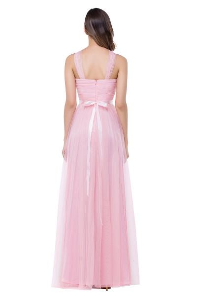 ELLIOTT   Sheath Floor-length Pink Tulle Bridesmaid Dresses with Ribbon Sash_3