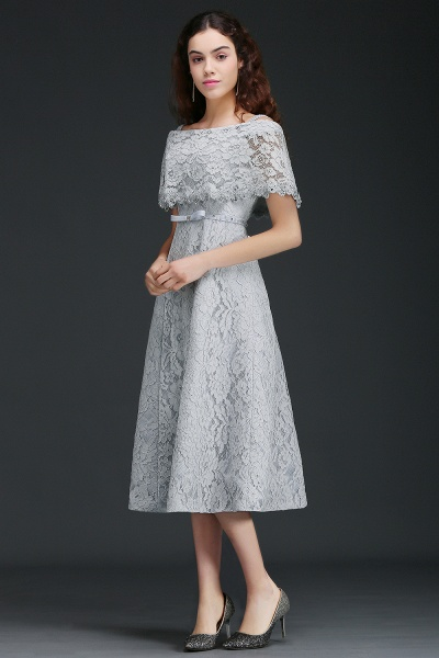 ALEXIS | A Line Off Shoulder Tea-Length Lace Homecoming Dresses With Sash_2