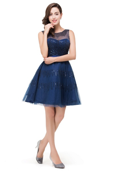 FATIMA | A-Line Sleeveless Crew Tulle Appliques Short Prom Dresses_6