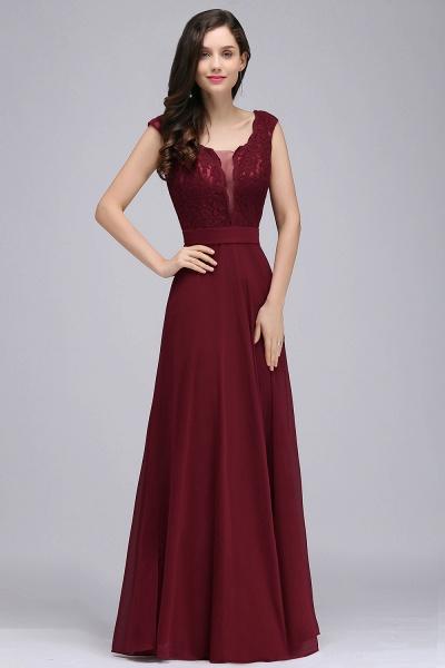 Scoop Cap Sleeves Satin Chiffon A-line Floor Length Bridesmaid Dress_1