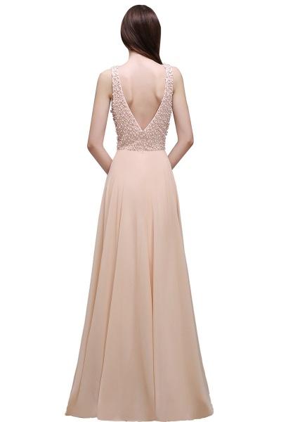ALANA | Sheath Sheer Chiffon Long Evening Dresses With Pearls_1