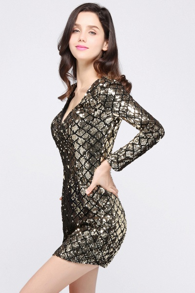 Awesome V-neck Sequined Column Homecoming Dress_2
