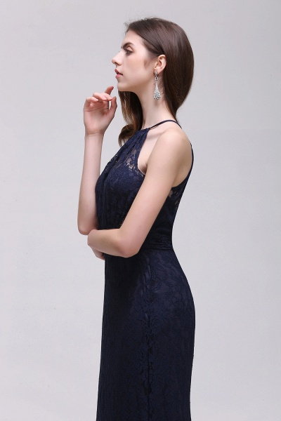 CHARLEE | Column Floor length Halter Navy blue Prom Dress_7