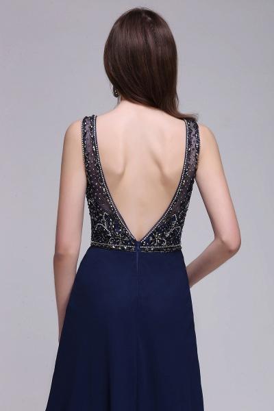 CALI | A-line Long Chiffon Dark Navy Vintage Prom Dresses with Rhinestones_7