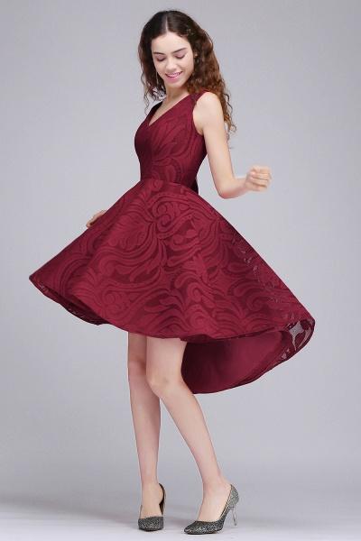 ALEJANDRA | A Line V Neck Burgundy Lace Cocktail Homecoming Dresses_3