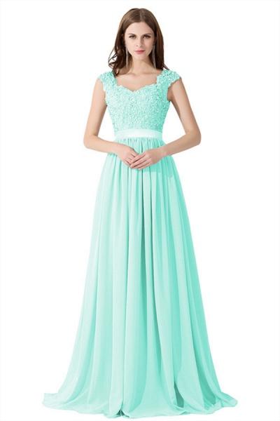 A-line V Neck Appliques Chiffon Bridesmaid Dress_11