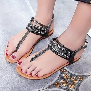 Women's Buckle Flats Slingbacks Flat Heel Sandals_1
