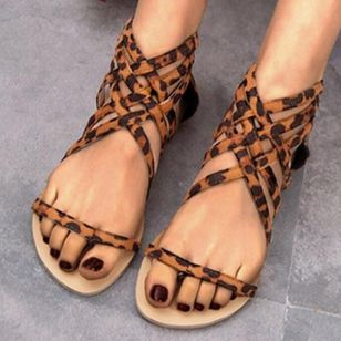 Women's Leopard Zipper Toe Ring Flat Heel Sandals_3