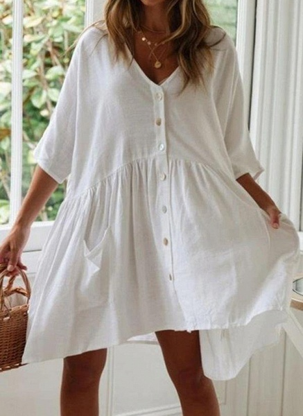 White Plus Size Tunic Solid V-Neckline Casual Pockets Buttons Plus Dress_6