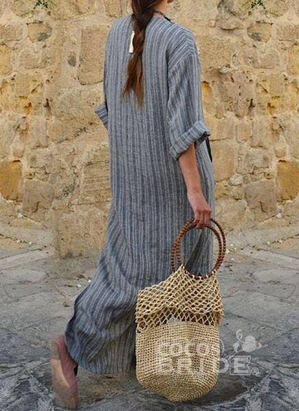 Green Plus Size Stripe V-Neckline Casual Pockets Plus Dress_3
