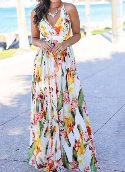 Elegant Floral Wrap Slip X-line Dress_2