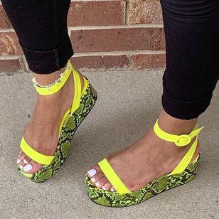 Women's Buckle Ankle Strap Slingbacks Leatherette Wedge Heel Sandals_2