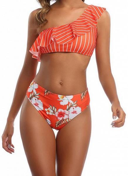 Polyester Oblique Neckline Pattern Floral Bikinis Swimwear_1
